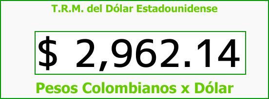 T.R.M. del Dólar para hoy Sábado 23 de Diciembre de 2017