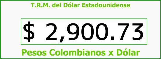 T.R.M. del Dólar para hoy Sábado 23 de Septiembre de 2017