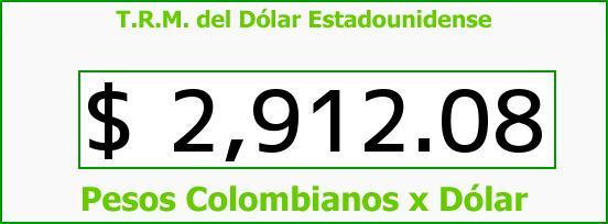 T.R.M. del Dólar para hoy Sábado 24 de Octubre de 2015