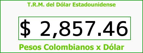 T.R.M. del Dólar para hoy Sábado 25 de Julio de 2015