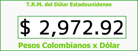T.R.M. del Dólar para hoy Sábado 25 de Junio de 2016