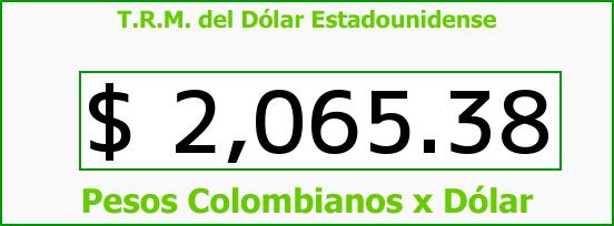 T.R.M. del Dólar para hoy Sábado 25 de Octubre de 2014