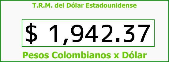 T.R.M. del Dólar para hoy Sábado 26 de Abril de 2014