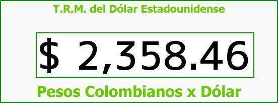 T.R.M. del Dólar para hoy Sábado 27 de Diciembre de 2014