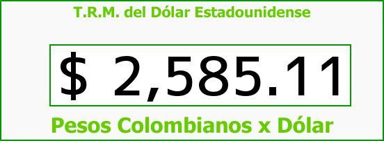 T.R.M. del Dólar para hoy Sábado 27 de Junio de 2015
