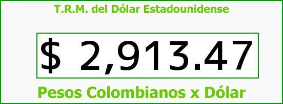 T.R.M. del Dólar para hoy Sábado 27 de Mayo de 2017
