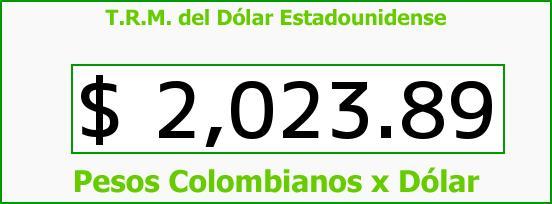 T.R.M. del Dólar para hoy Sábado 27 de Septiembre de 2014