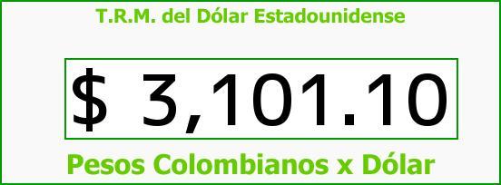 T.R.M. del Dólar para hoy Sábado 29 de Agosto de 2015