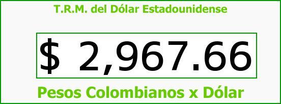 T.R.M. del Dólar para hoy Sábado 29 de Octubre de 2016