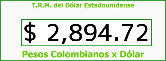 T.R.M. del Dólar para hoy Sábado 3 de Junio de 2017