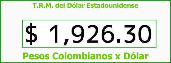 T.R.M. del Dólar para hoy Sábado 3 de Mayo de 2014