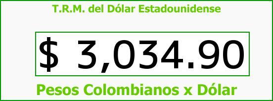 T.R.M. del Dólar para hoy Sábado 3 de Octubre de 2015