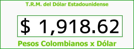 T.R.M. del Dólar para hoy Sábado 30 de Agosto de 2014