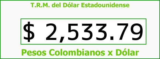 T.R.M. del Dólar para hoy Sábado 30 de Mayo de 2015