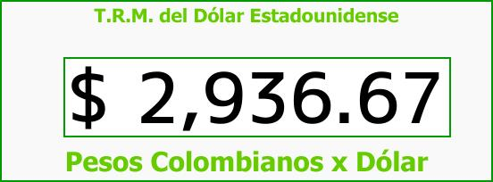 T.R.M. del Dólar para hoy Sábado 30 de Septiembre de 2017