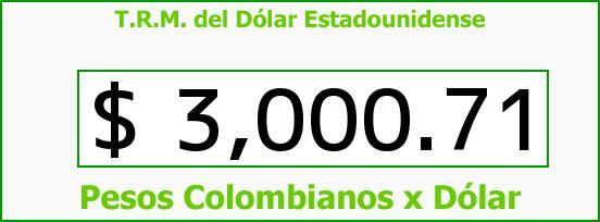 T.R.M. del Dólar para hoy Sábado 31 de Diciembre de 2016
