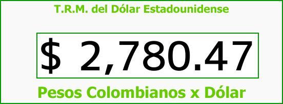 T.R.M. del Dólar para hoy Sábado 31 de Marzo de 2018