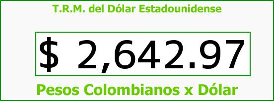 T.R.M. del Dólar para hoy Sábado 4 de Julio de 2015