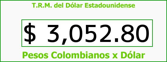 T.R.M. del Dólar para hoy Sábado 6 de Agosto de 2016