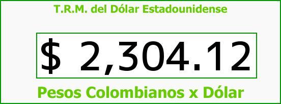 T.R.M. del Dólar para hoy Sábado 6 de Diciembre de 2014