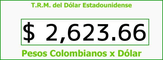 T.R.M. del Dólar para hoy Sábado 6 de Junio de 2015