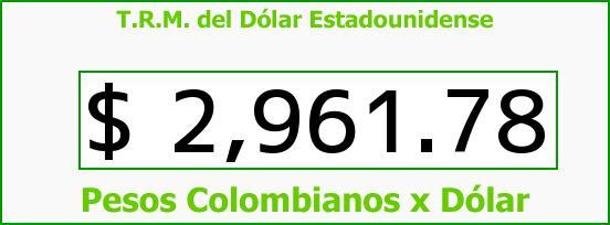T.R.M. del Dólar para hoy Sábado 6 de Mayo de 2017
