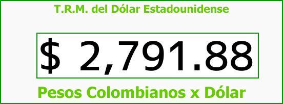 T.R.M. del Dólar para hoy Sábado 7 de Abril de 2018
