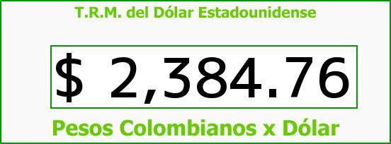 T.R.M. del Dólar para hoy Sábado 7 de Febrero de 2015