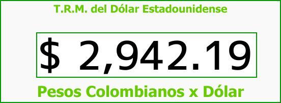 T.R.M. del Dólar para hoy Sábado 7 de Octubre de 2017