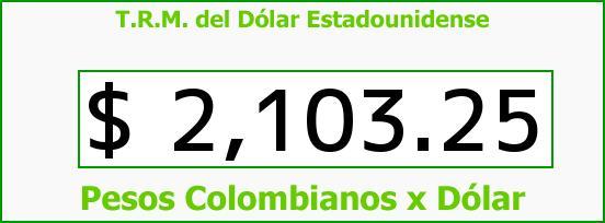 T.R.M. del Dólar para hoy Sábado 8 de Noviembre de 2014