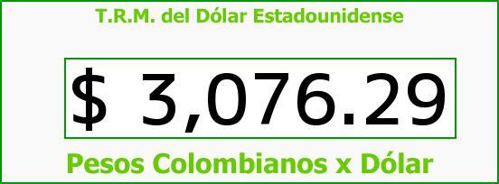 T.R.M. del Dólar para hoy Sábado 9 de Abril de 2016