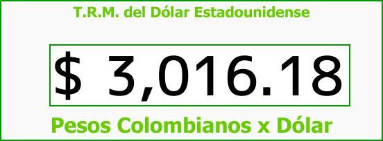 T.R.M. del Dólar para hoy Sábado 9 de Diciembre de 2017