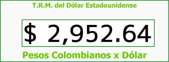T.R.M. del Dólar para hoy Sábado 9 de Julio de 2016