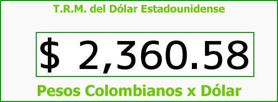 T.R.M. del Dólar para hoy Sábado 9 de Mayo de 2015