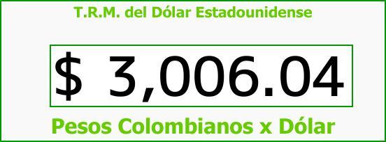 T.R.M. del Dólar para hoy Viernes 1 de Diciembre de 2017