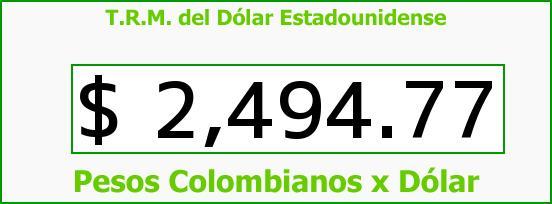 T.R.M. del Dólar para hoy Viernes 10 de Abril de 2015