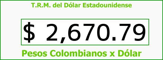 T.R.M. del Dólar para hoy Viernes 10 de Julio de 2015