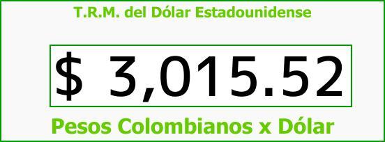 T.R.M. del Dólar para hoy Viernes 10 de Noviembre de 2017