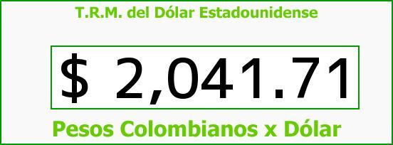 T.R.M. del Dólar para hoy Viernes 10 de Octubre de 2014