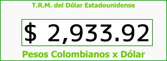 T.R.M. del Dólar para hoy Viernes 12 de Mayo de 2017