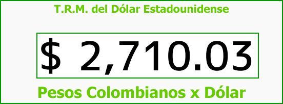 T.R.M. del Dólar para hoy Viernes 13 de Abril de 2018