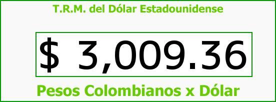 T.R.M. del Dólar para hoy Viernes 13 de Noviembre de 2015