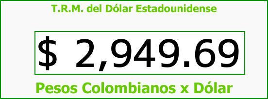 T.R.M. del Dólar para hoy Viernes 13 de Octubre de 2017