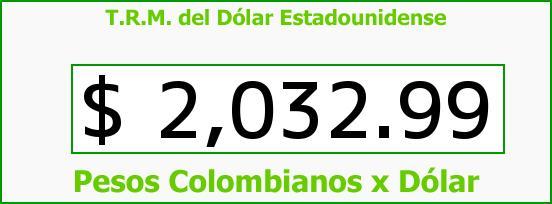 T.R.M. del Dólar para hoy Viernes 14 de Febrero de 2014