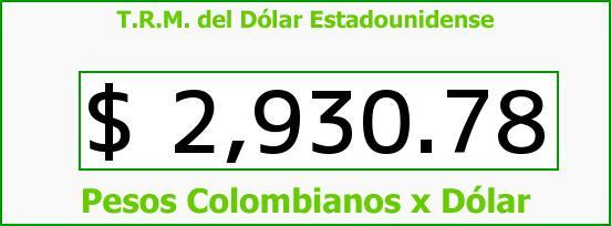 T.R.M. del Dólar para hoy Viernes 14 de Octubre de 2016