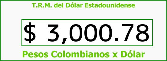 T.R.M. del Dólar para hoy Viernes 15 de Abril de 2016