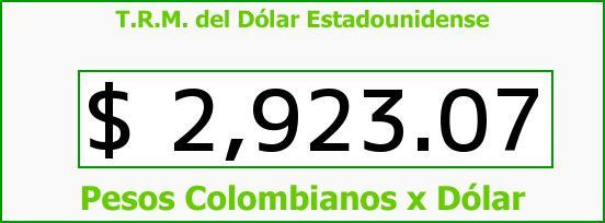 T.R.M. del Dólar para hoy Viernes 15 de Julio de 2016