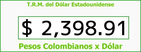 T.R.M. del Dólar para hoy Viernes 16 de Enero de 2015