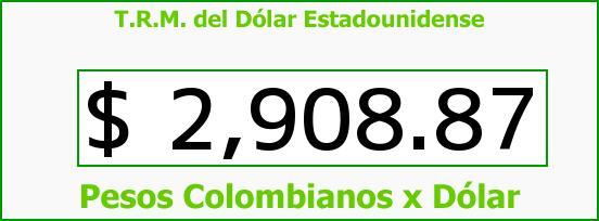 T.R.M. del Dólar para hoy Viernes 16 de Octubre de 2015