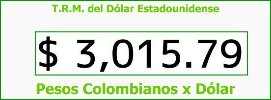 T.R.M. del Dólar para hoy Viernes 17 de Noviembre de 2017